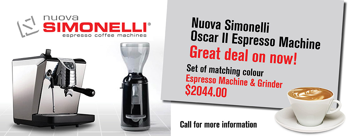 Nuova Simonelli Oscar II Espresso Machine - Great deal on now! Set of matching colour Espresso Machine & Grinder - Call for more information